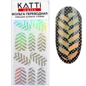KATTi фольга переводная 36031 прозрачная с мульти серебристым рисунком Листья 20см