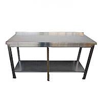 Стол из нержавеющей стали с плоским бортом, 6 ног, 2 ребра жесткости, усиленный каркас