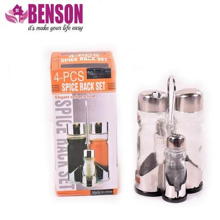 Набор соль/перец Benson BN-1022 | Набор для специй на подставке, фото 2