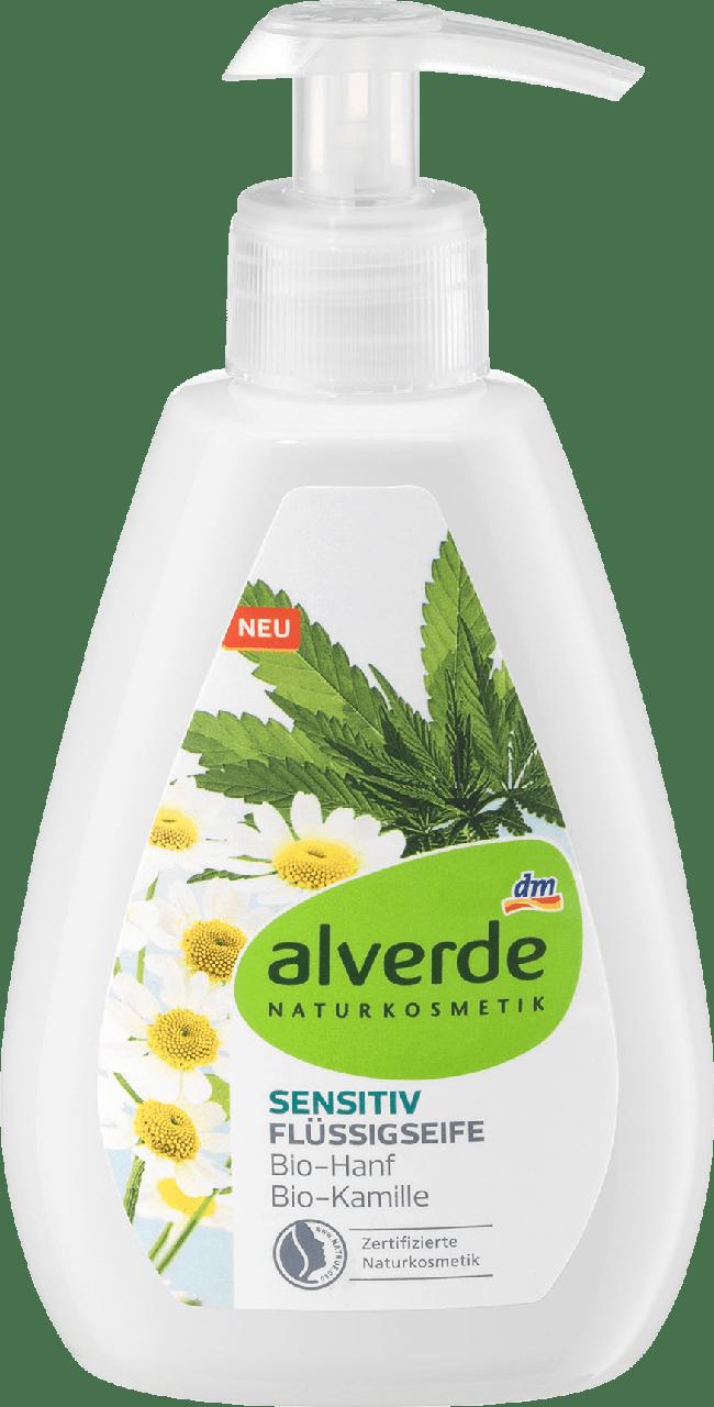 Органическое жидкое крем-мыло alverde NATURKOSMETIK Sensitiv Bio-Kamille Bio-Hanf, 300 мл.