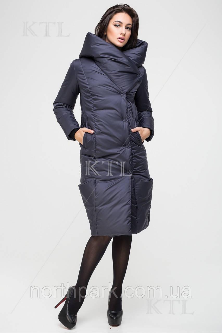 Довга зимова куртка KTL з асиметричним коміром, графіт