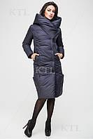 Довга зимова куртка KTL з асиметричним коміром, графіт, фото 1
