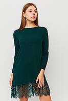 Темно-зеленое мини-платье из ангоры с гипюром, фото 1