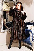 Модная  женская шуба  из эко меха коричневая норка с 44 по 58 размер
