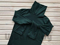Гольф женский, водолазка, шерстяной, мягкий, теплый гольфик, свитер с горлом зеленый