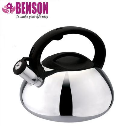 Чайник зі свистком з нержавіючої сталі Benson BN-701 3 л   Нейлонова ручка   Індукція, фото 2