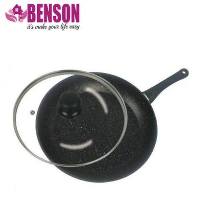 Сковорода с антипригарным мраморным покрытием с крышкой Benson BN-504 28*5,5 см, фото 2