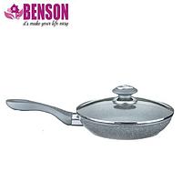 Сковорода с гранитным покрытием Benson BN-514 22*5.5 см | Крышка | Индукция | Бакелитовая ручка