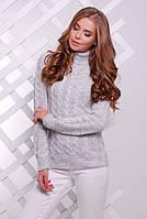 Теплый женский вязаный свитер светло-серый