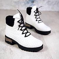 Зимние кожаные  ботинки на шнуровке 40 р белый, фото 1