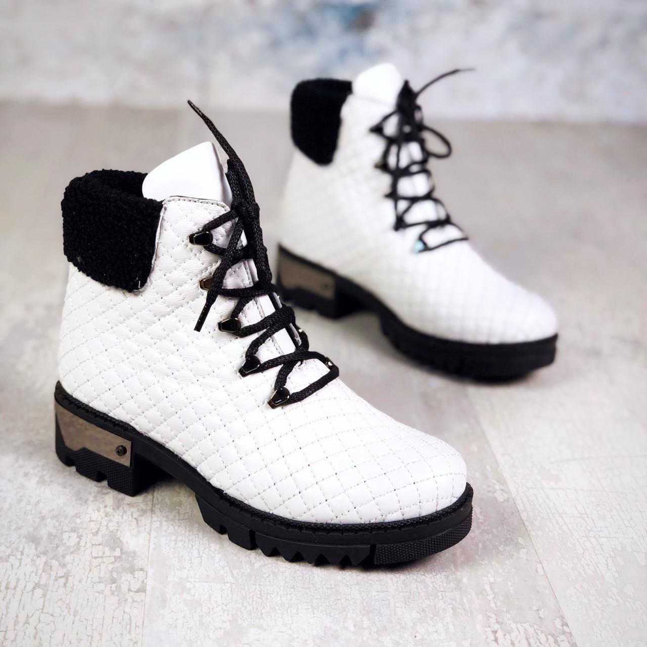 Зимние кожаные  ботинки на шнуровке 40 р белый