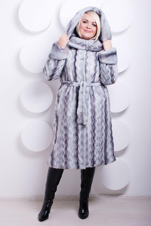 Модная  женская шуба  из эко меха серо-голубая норка с 44 по 58 размер