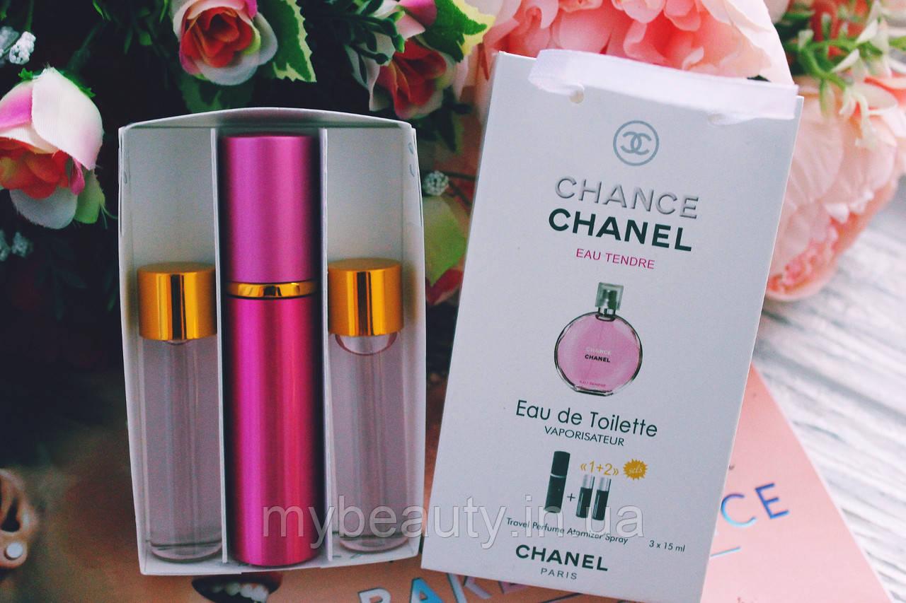 Женский мини парфюм Chanel Chance Eau Tendre (Шанель Шанс Еу Тендр) 3*15 мл