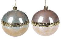 Елочный шар 8см, микс 2-х цветов с золотой полосой в дисплей-коробке: перламутр розовый и серый