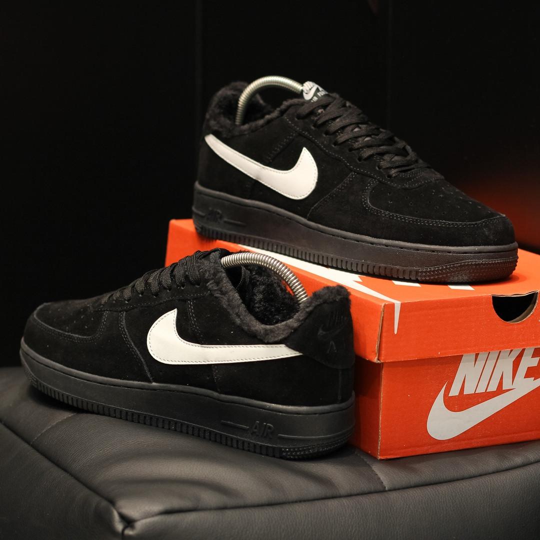 Мужские зимние Nike Air Force Winter Black на меху+ термоносок  ( в стиле Nike)