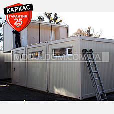 Блок-контейнер (6 х 9.6 м.), раздевалка для спортивной команды, на основе цельно-сварного металлокаркаса., фото 2