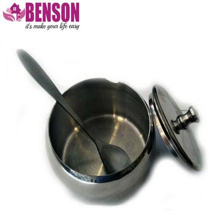 Цукорниця з ложкою і кришкою з нержавіючої сталі Benson BN-627 8 см, фото 2