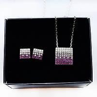 Набор украшений Beauty Bar из серебра 925 серьги и кулон с розовыми цирконами, фото 1