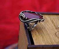 Перстень  из латуни с природной красной яшмой