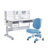 Растущий комплект для школьника парта FunDesk Libro Grey+ ортопедическое кресло Buono Blue