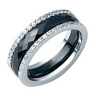 Видеообзор Серебряное женское кольцо с керамикой черного цвета 18 размер