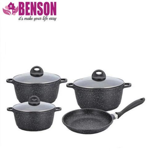 Набор посуды Benson BN-312 мраморное покрытие | 6 предметов