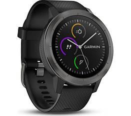 Смарт-годинник Garmin Vivoactive 3 Black with Slate Hardware з чорним ремінцем