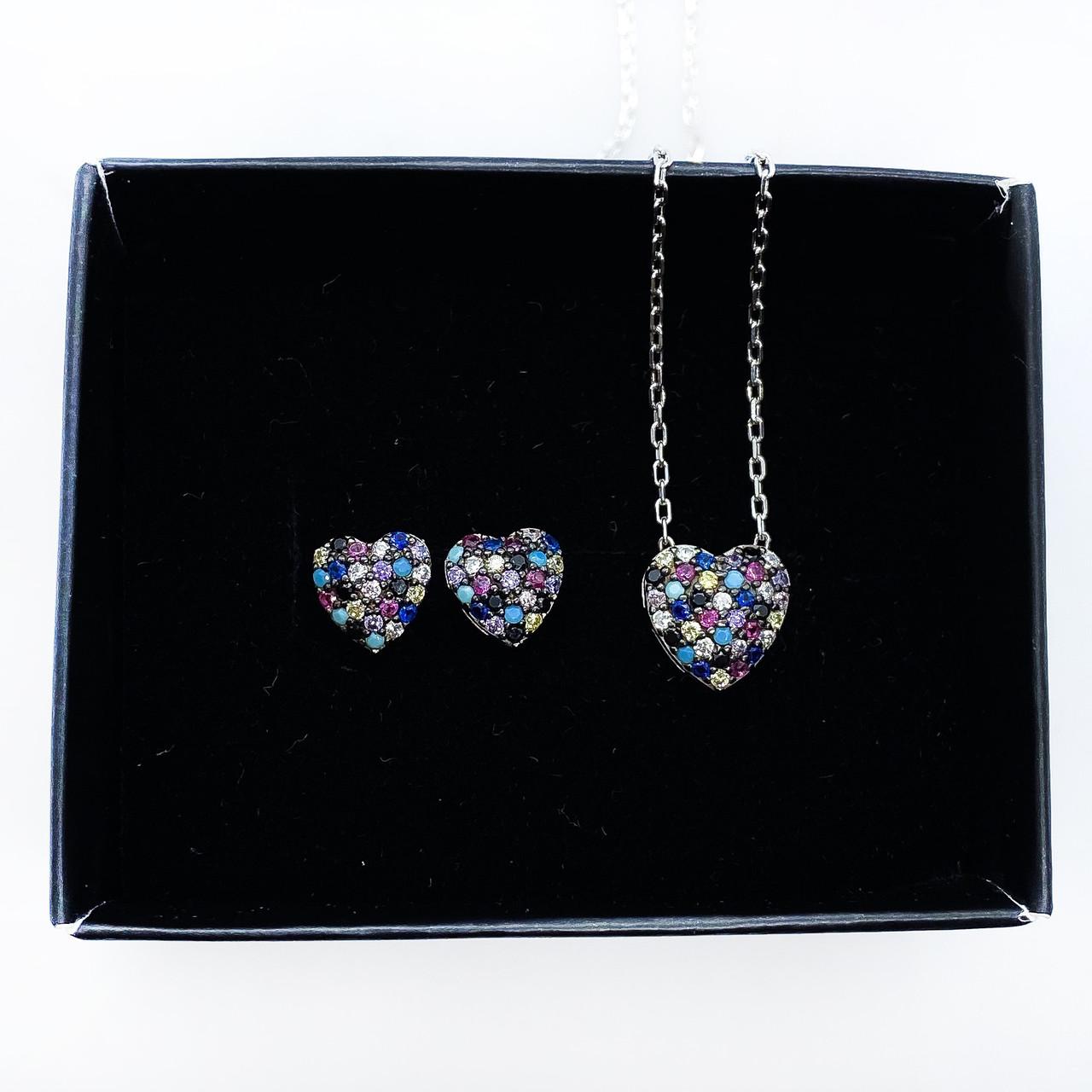 Набор украшений Beauty Bar из серебра 925 серьги и кулон сердечки с разноцветными цирконами