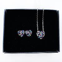 Набор украшений Beauty Bar из серебра 925 серьги и кулон сердечки с разноцветными цирконами, фото 1
