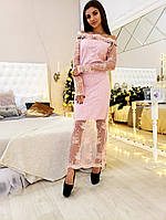 Шикарное платье, ткань: красивое французское кружево на подкладке. Размер:С,М,Л. Разные цвета. (2694)