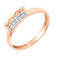 Золотое кольцо в комбинированном цвете Бруклин с имитацией звеньев и фианитами 000117081 16.5 размер