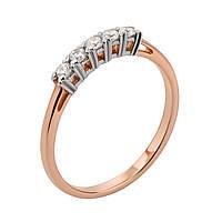 Золотое кольцо в комбинированном цвете с фианитами 000117653 000117653 18 размер