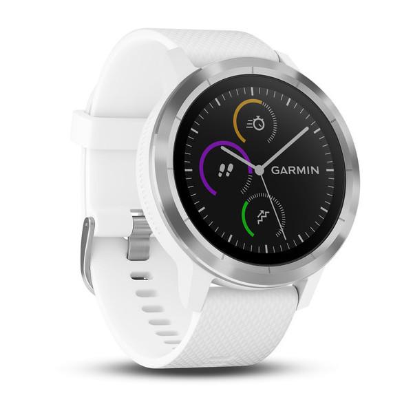 Смарт-годинник Garmin Vivoactive 3 Stainless with White Band з білим ремінцем