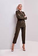 Классический деловой женский брючный костюм хаки размеры ХС,С,М