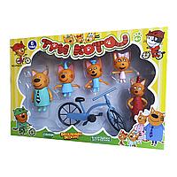"""Набор персонажей мультфильма """"Три кота"""" с велосипедом из серии Счастливая семья scs scs"""