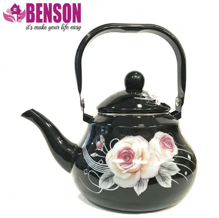 Емальований чайник з рухомою ручкою Benson BN-102 2 л | Чорний з малюнком, фото 2