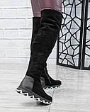 Демисезонные ботфорты со стеганой пяточкой черные, фото 3