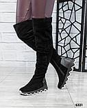 Демисезонные ботфорты со стеганой пяточкой черные, фото 2