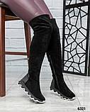 Демисезонные ботфорты со стеганой пяточкой черные, фото 4