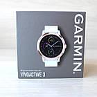 Смарт-годинник Garmin Vivoactive 3 Rosegold with White Band з білим ремінцем, фото 5