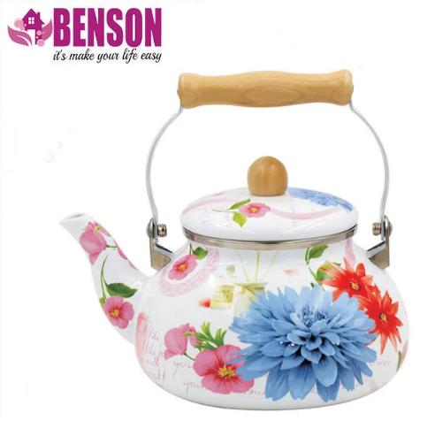Емальований чайник з рухомою дерев'яною ручкою Benson BN-109 2.5 л   Білий з малюнком