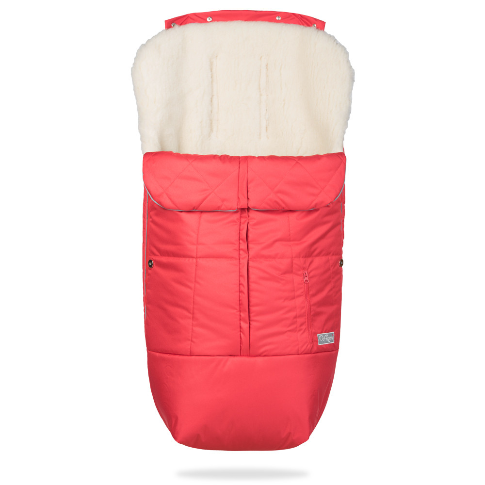 Детский конверт-чехол для прогулочных колясок на овчине Тренд / красный