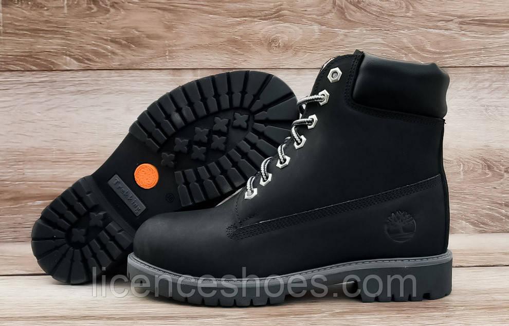 Женские зимние ботинки в стиле Timberland All Black Натуральная кожа и мех (Реплика ААА)
