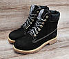 Жіночі чорні зимові черевики Timberland Black. Натуральна шкіра та хутро, фото 4