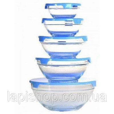 Набор стеклянных емкостей с крышками Cooking Bowl 5 шт., фото 1