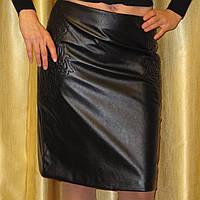 Модная черная юбка Odji из кожзама р.46