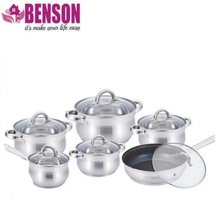 Набор кастрюль из нержавеющей стали 12 предметов Benson BN-212 2,1 л, 2,1 л, 2,9 л, 3,9 л, 6,5 л, фото 2