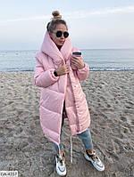 Длинная теплая зимняя куртка воздуховик арт 0176