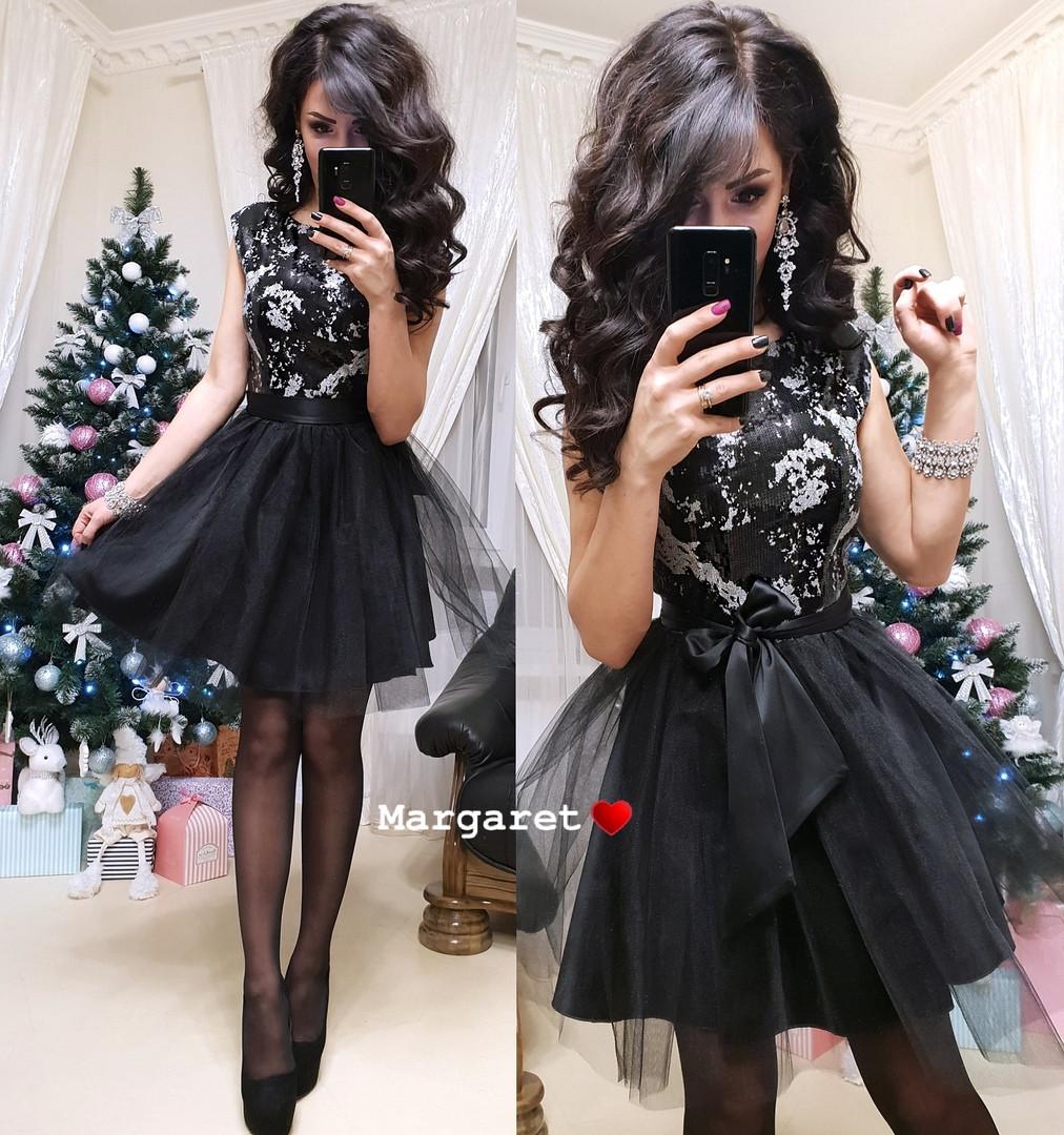 Женское нарядное черное платье с пайетками