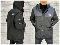 Мужская весенняя куртка плащевка на синтепоне черная с синим 46 48 50 52